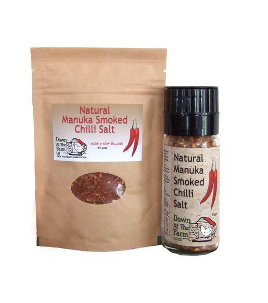 Down at the Farm Manuka Smoked Chilli Salt Grinder with 85g pouch smoked chilli salt refill