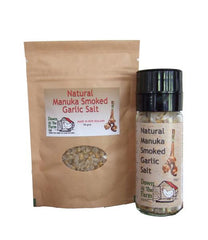 Down at the Farm Manuka Smoked Garlic Salt Grinder with 90g pouch smoked garlic salt refill