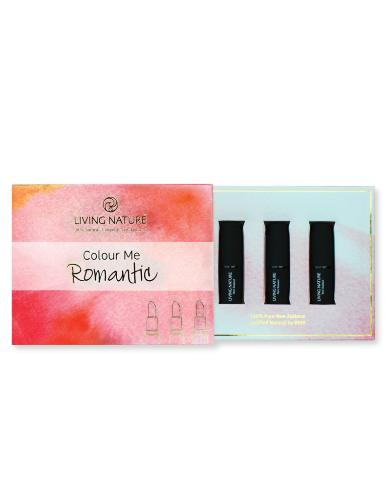 Living Nature Colour Me Natural ROMANTIC 3 Lipstick pack - Bloom, Laughter, Summer Rain