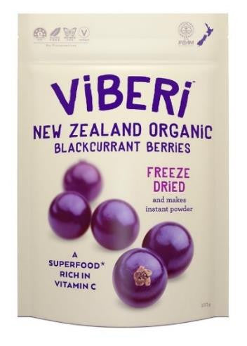ViBERi NZ Organic Freeze Dried Blackcurrant Berries (120g)