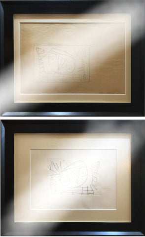 "Original drawing and etching ""Visage"" 1959 (2 WORKS)"