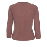 Cashmere cardigan with 3/4 length sleeves - peach