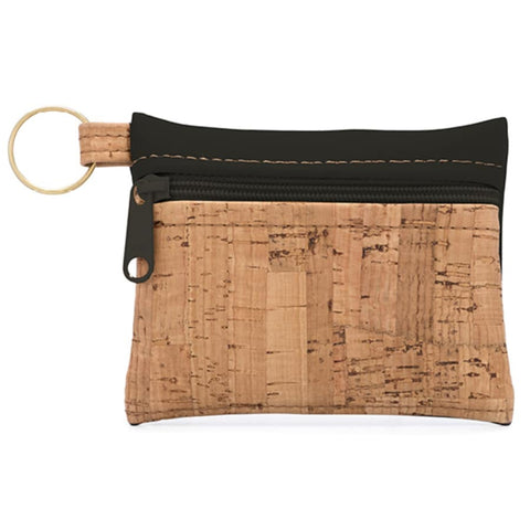 Cork Zipper Wallet - Black - The Poppy Stock