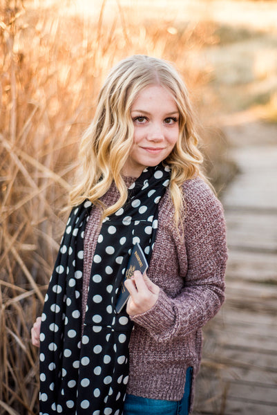 Black and White Polka Dot Infinity Pocket Scarf - Travel Scarf - The Poppy Stock