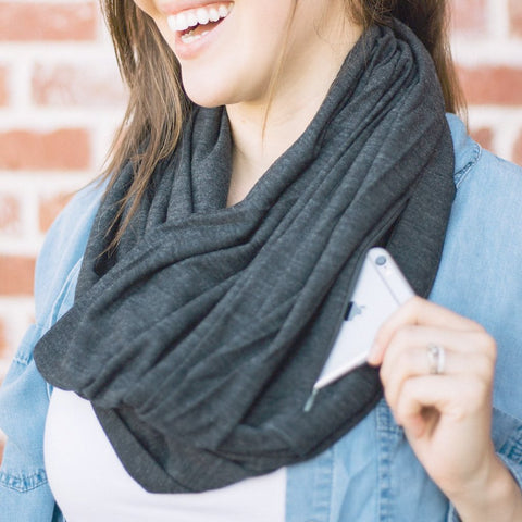Light Grey Merino Wool Blend Infinity Pocket Scarf