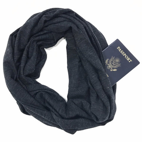 Charcoal Merino Wool Infinity Scarf with Pocket - Travel Scarf