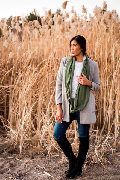 Olive Green Infinity Pocket Scarf - Travel Scarf - The Poppy Stock