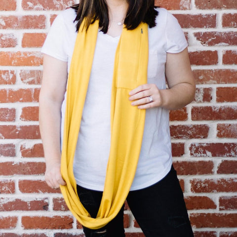 Gold Infinity Pocket Scarf - Travel Scarf