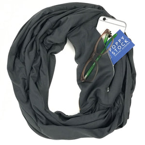 Grey Infinity Pocket Scarf - Travel Scarf - The Poppy Stock