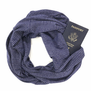 Blue and Silver Metallic Stripe Infinity Pocket Scarf - Travel Scarf - The Poppy Stock