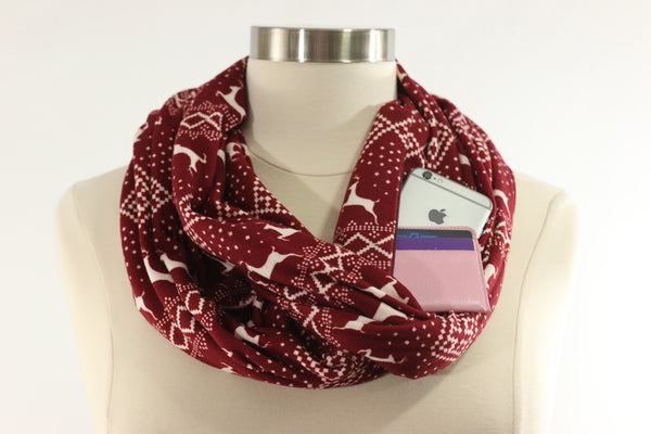 Red Reindeer Infinity Pocket Scarf - The Poppy Stock