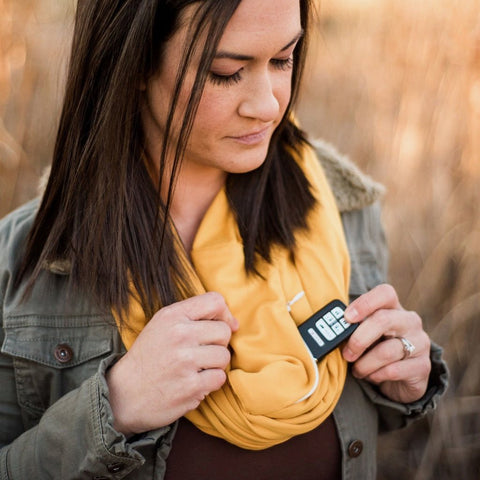 Mustard Infinity Pocket Scarf - Travel Scarf - The Poppy Stock