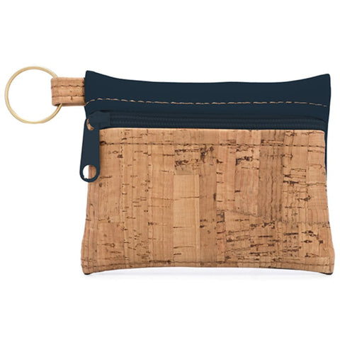 Cork Zipper Wallet - Navy - The Poppy Stock