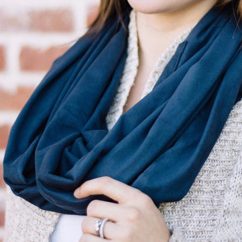 Navy Suede Scarf with Hidden Pocket - The Poppy Stock