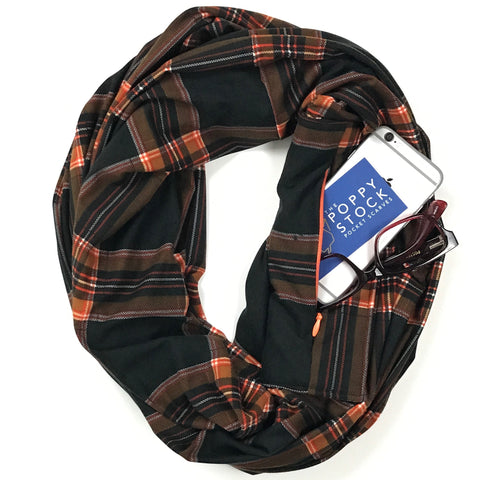 Plaid Infinity Pocket Scarf - Travel Scarf - The Poppy Stock