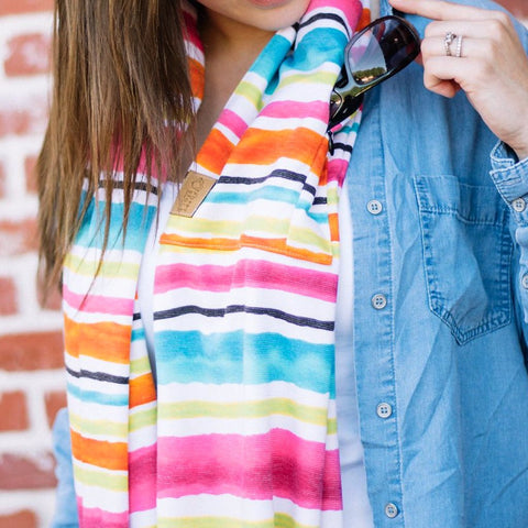 Rainbow Striped Infinity Pocket Scarf - Travel Scarf - The Poppy Stock