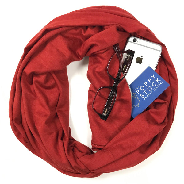Rust Jersey Infinity Pocket Scarf - Travel Scarf - The Poppy Stock