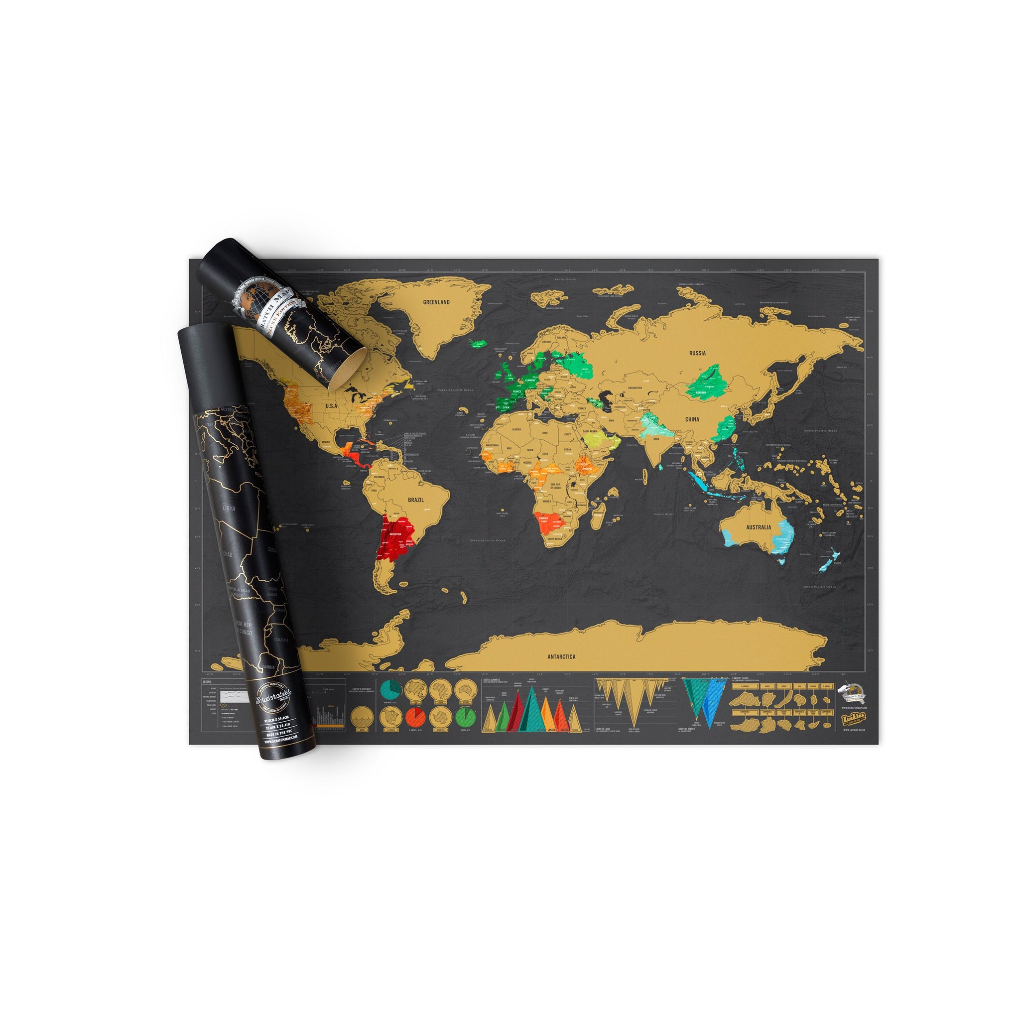 Travel Scratch Map Deluxe - International Version - The Poppy Stock