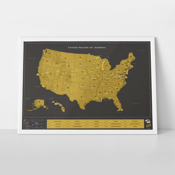 Travel Scratch Map - U.S.A. Version - The Poppy Stock