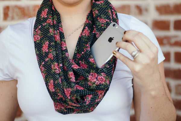 Polka Dot Floral Chiffon Infinity Scarf with Pocket - Handmade in the U.S.A. - The Poppy Stock