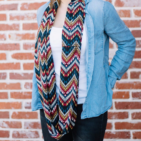 Aztec Chevron Colored Chevron Infinity Scarf with Pocket - The Poppy Stock