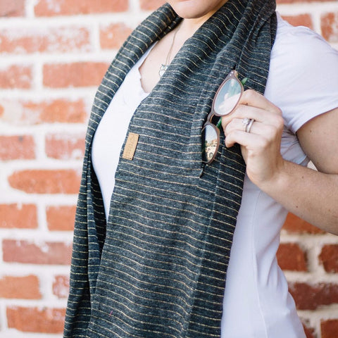 Grey and Metallic Gold Stripe Infinity Pocket Scarf - Travel Scarf - Pocket Scarf - Gifts for Her