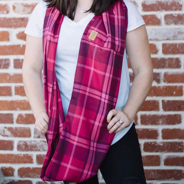 Pink Plaid Infinity Pocket Scarf - Travel Scarf