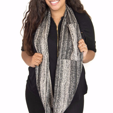 Black & Cream Striped Infinity Pocket Scarf - Travel Scarf