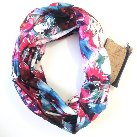 Watercolor Infinity Pocket Scarf - Travel Scarf - The Poppy Stock