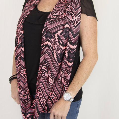 Black & Pink Aztec Chevron Infinity Pocket Scarf - Travel Scarf