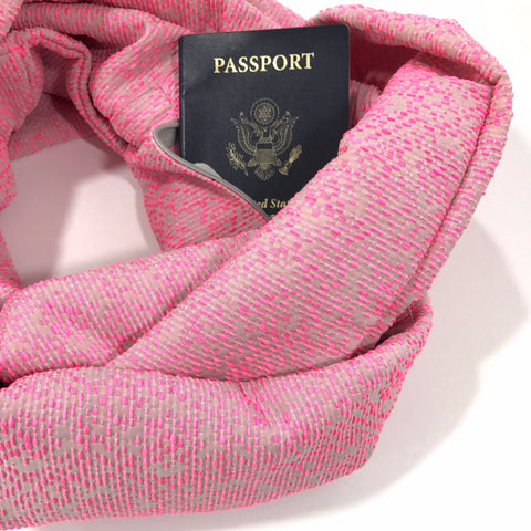 Pink and Silver Infinity Pocket Scarf - Travel Scarf