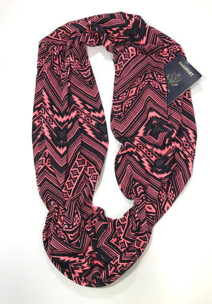 Black pink aztec chevron infinity pocket scarf travel scarf the poppy stock for Travel scarf