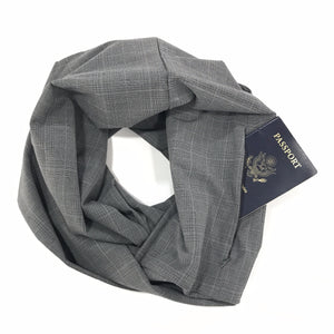 Grey Plaid Infinity Pocket Scarf