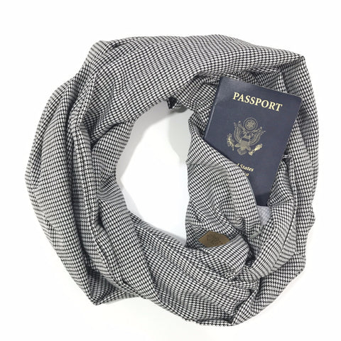 Black & White Metallic Houndstooth Infinity Pocket Scarf, Travel Scarf