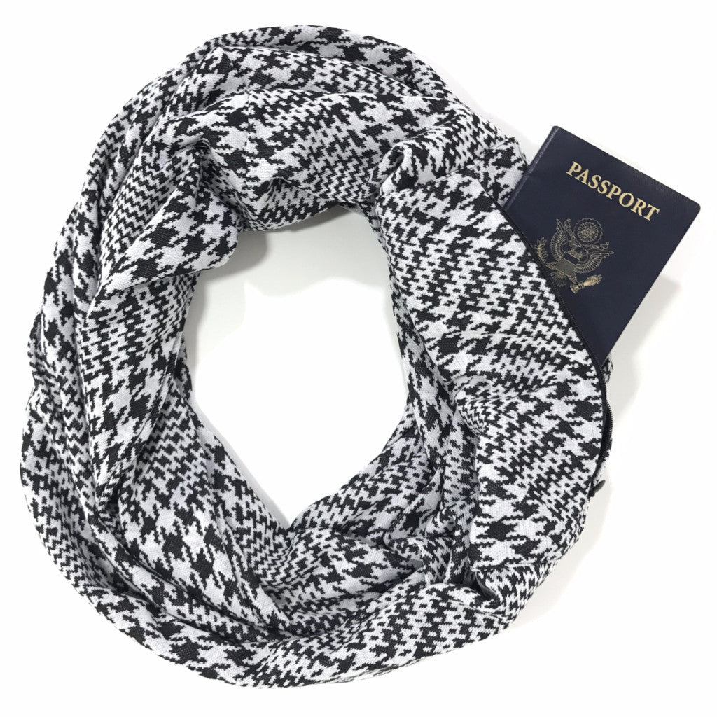 Black & White Houndstooth Infinity Pocket Scarf - Travel Scarf