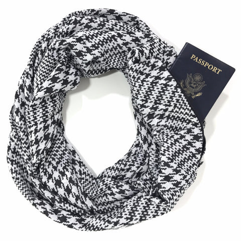 Black & White Houndstooth Infinity Pocket Scarf