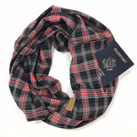 Plaid Infinity Pocket Scarf, Red White and Blue Travel Scarf