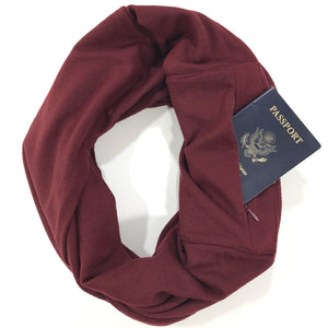 Maroon Merino Wool Infinity Pocket Scarf - The Poppy Stock