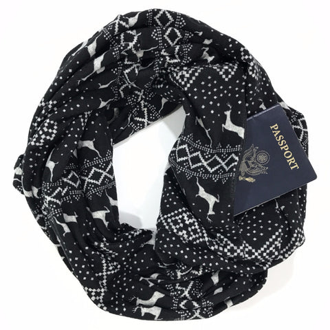 Black Reindeer Infinity Scarf with Pocket