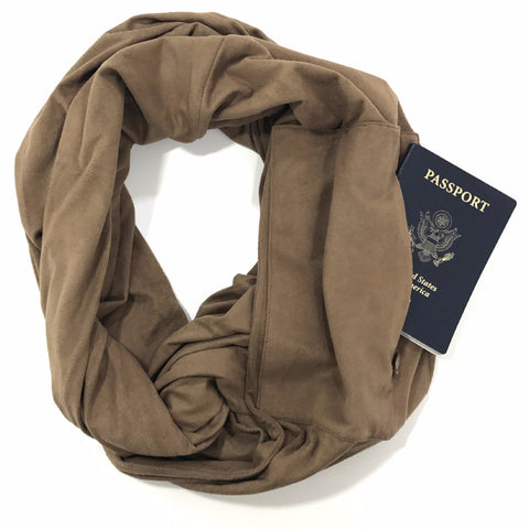 Carmel Suede Infinity Travel Scarf,The Poppy Stock