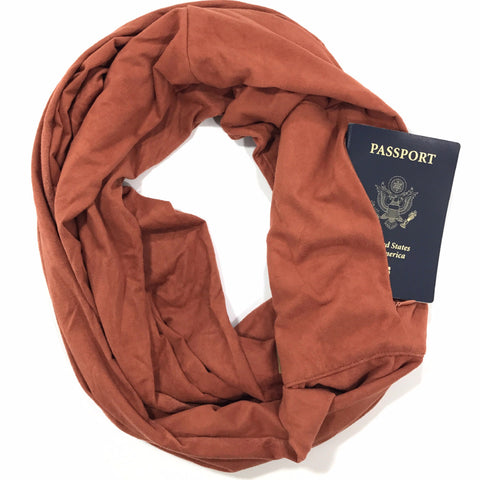 Pumpkin Spice Suede Infinity Pocket Scarf - Travel Scarf - The Poppy Stock