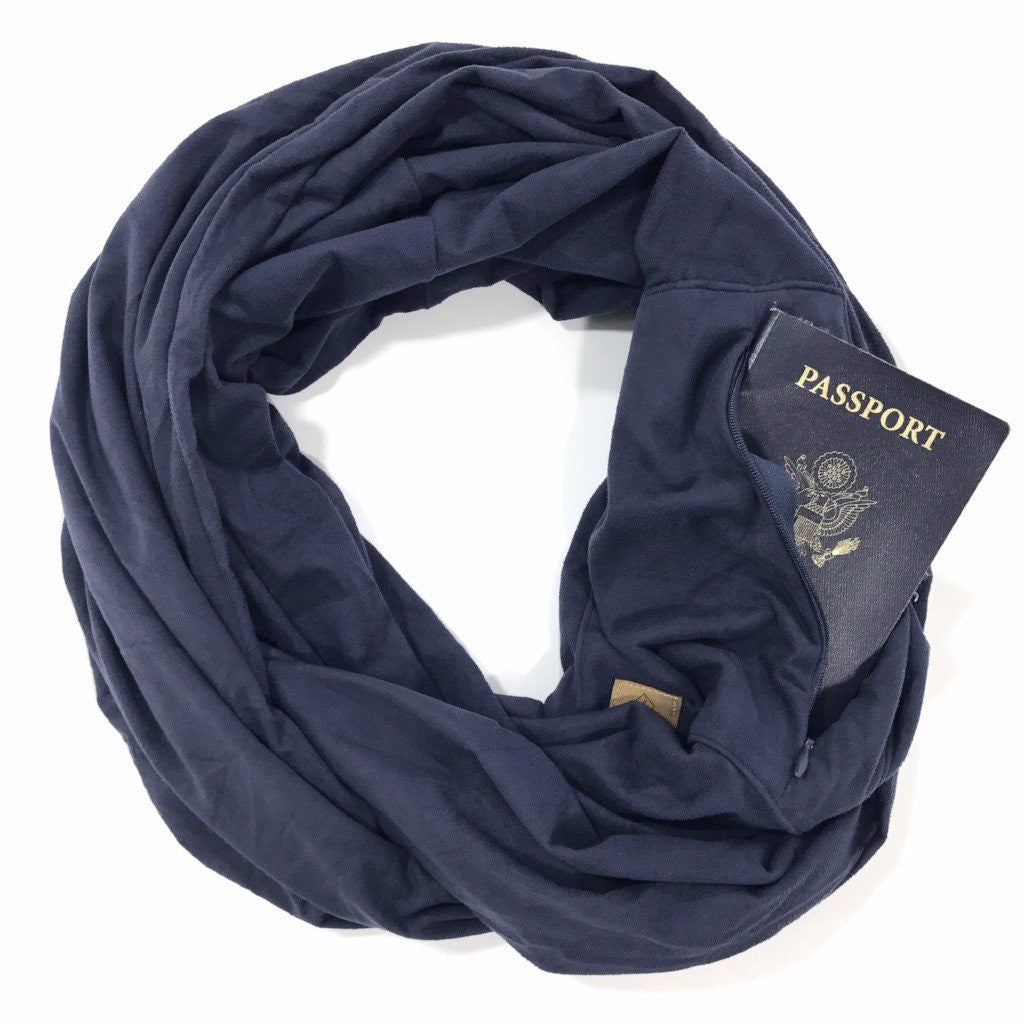 Navy Suede Infinity Pocket Scarf