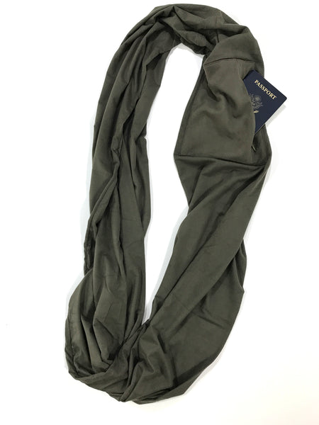 Olive Suede Infinity Pocket Scarf - Travel Scarf