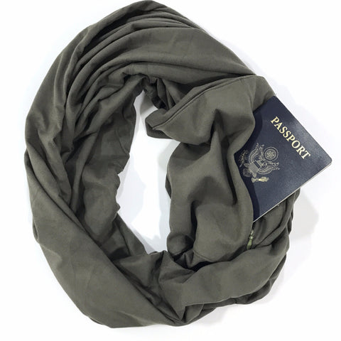 Olive Suede Infinity Pocket Scarf