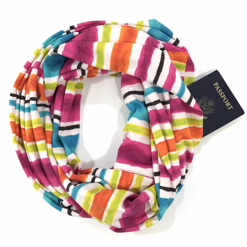 Rainbow Striped Infinity Pocket Scarf - Travel Scarf