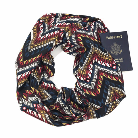 Multi Colored Chevron Infinity Scarf with Pocket
