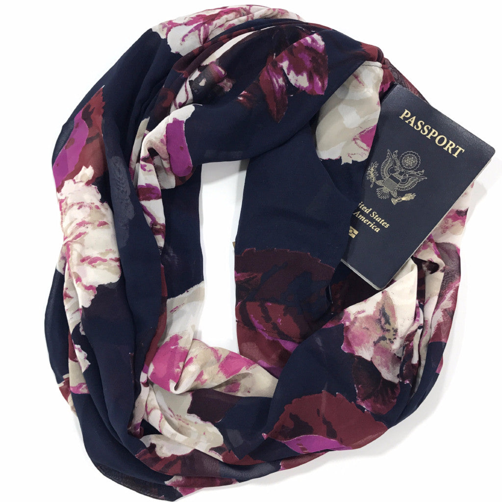 Navy Floral Chiffon Infinity Scarf with Pocket