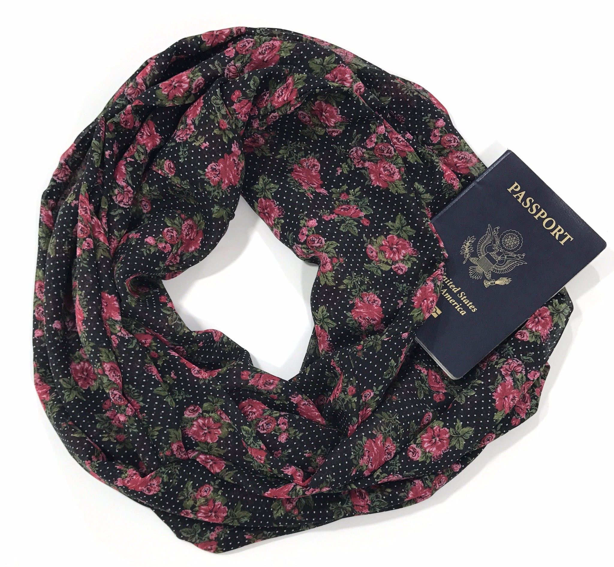 Polka Dot Floral Chiffon Infinity Scarf with Pocket