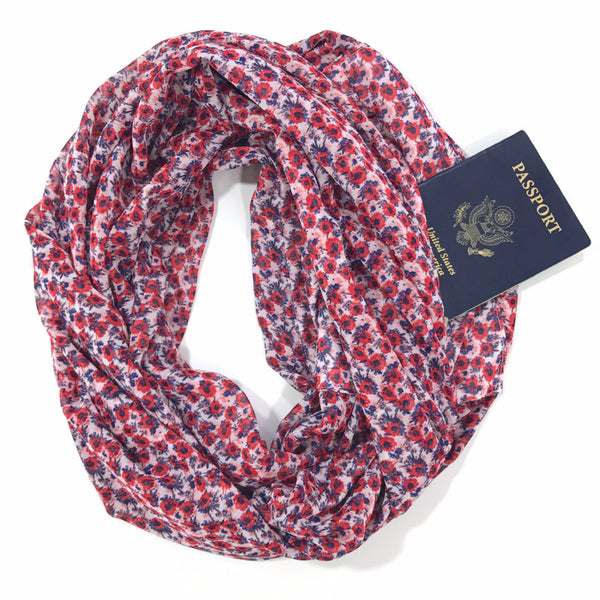 Red & Blue Floral Chiffon Infinity Scarf with Pocket