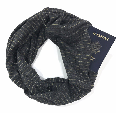 Grey and Metallic Gold Stripe Infinity Pocket Scarf